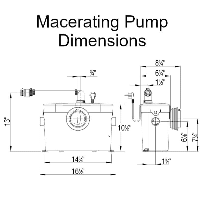 saniaccess 2 macerating pump 083 dimensions