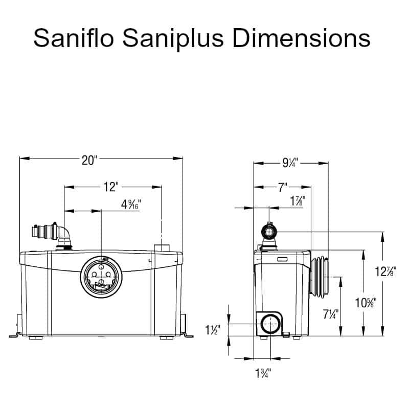 saniflo saniplus dimensions