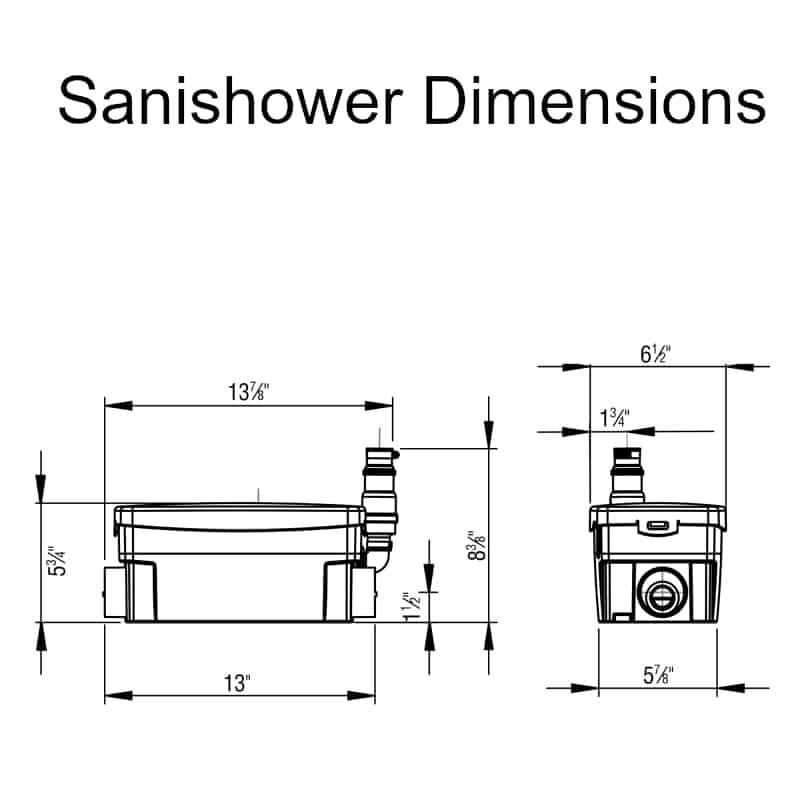sanishower dimensions